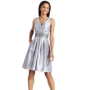 JS Boutique Silver Empire Beaded Waist dress